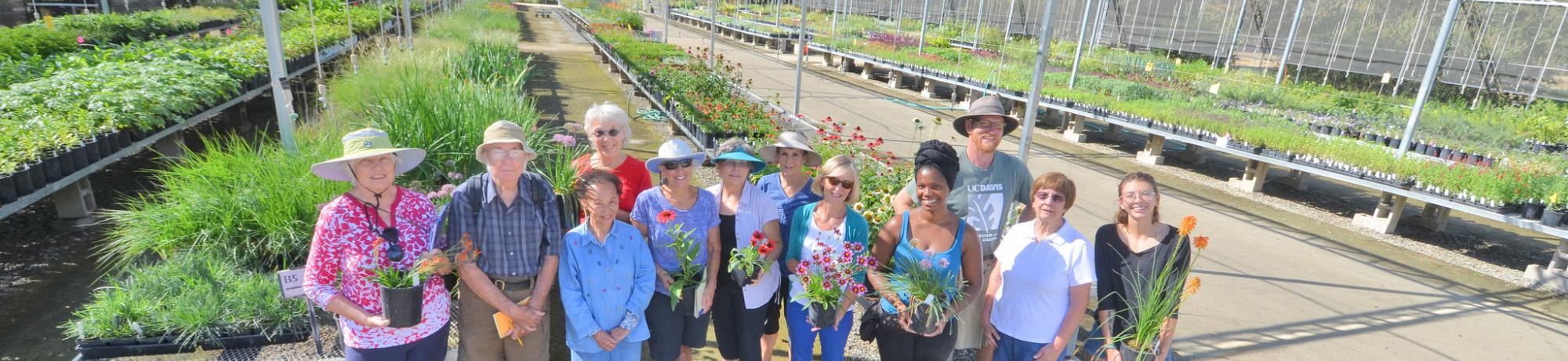 Image of students, volunteers and staff in the Arboretum Teaching Nursery.